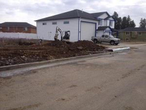 Thirty foot driveway approach before cutting curb