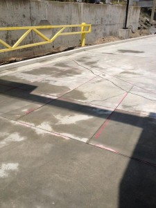 Other view of expansion joints cut tiled in to concrete slab